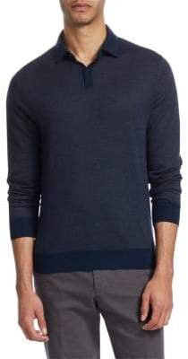Loro Piana Textured Long-Sleeve Polo