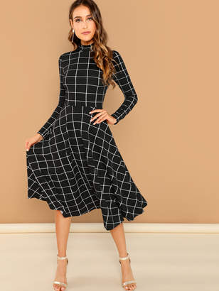 Shein Mock-neck Grid Flare Midi Dress
