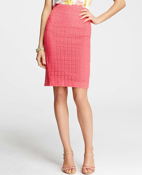 Ann Taylor Tall Perforated Lace Cotton Pencil Skirt