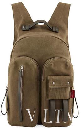 Valentino Men's VLTN Logo-Graphic Canvas Backpack