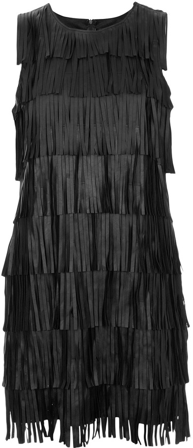 Fringed Leather-look Dress