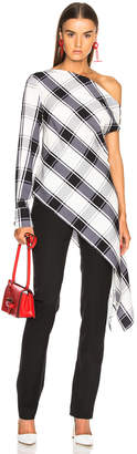 Monse Plaid One Sleeve Georgette Blouse