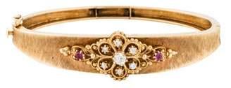 14K Diamond & Sapphire Bangle