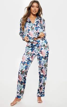 ed822a403cf PrettyLittleThing Cream Tropical Satin Long Pyjama Set
