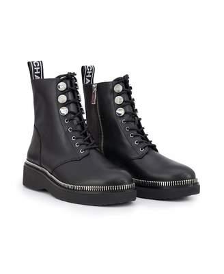 Michael Kors Tavie Tape Logo Lace Up Ankle Boots Colour: BLACK, Size: