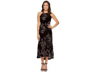 Vince Camuto Printed Velvet Halter High-Low Midi Dress Women's Dress