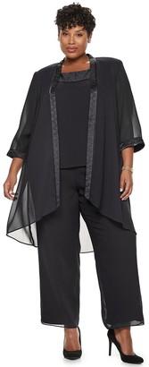 Le Bos Plus Size Satin Trim Duster Jacket, Top & Pants Set