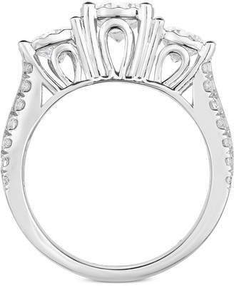 TruMiracle Diamond Three-Stone Engagement Ring (3 ct. t.w.) in 14k White Gold