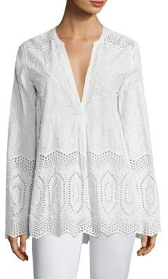 Theory Ofeliah Cotton Eyelet Blouse $295 thestylecure.com