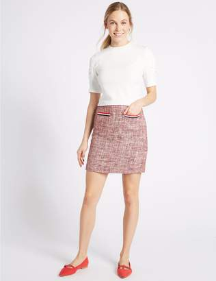 Marks and Spencer Contrast Trim Patch Pocket Pencil Mini Skirt