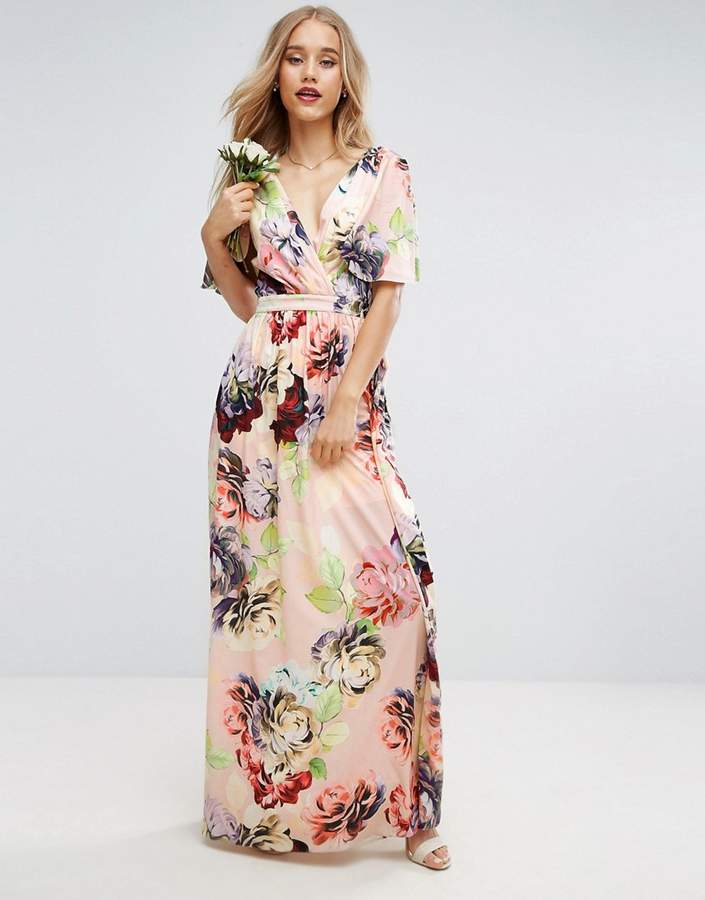 Asos ASOS WEDDING Print Soft Flutter Sleeve Maxi Dress