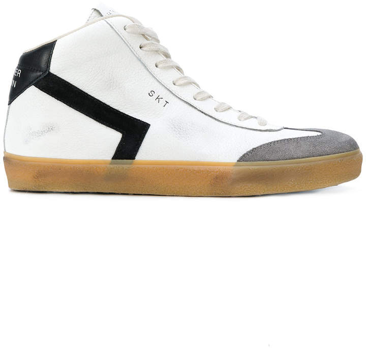 Leather Crown zipped hi-top sneakers