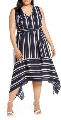 Vince Camuto Handkerchief Hem Stripe Crepe Dress