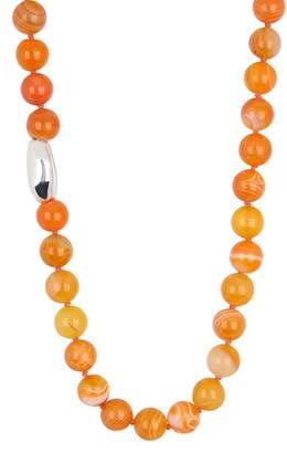 Simon Sebbag Sterling Silver Orange Agate Bead Necklace