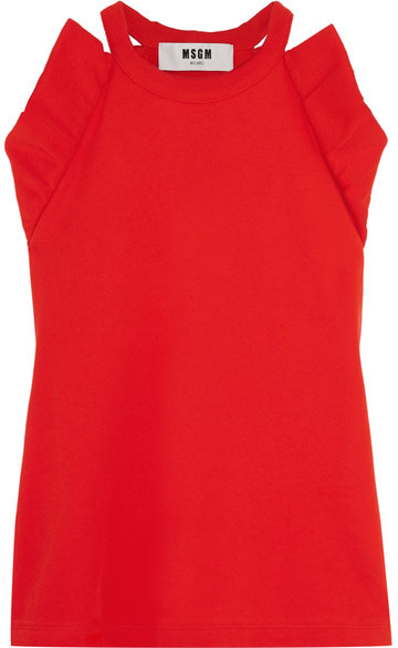 MSGM - Ruffled Cotton-terry Top - Red