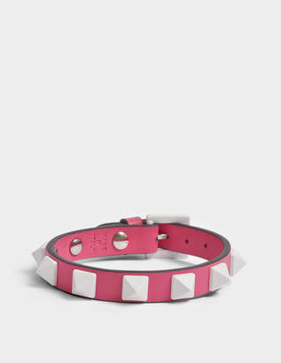Valentino Free Rockstud Small Bracelet in Shadow Pink Nappa Leather