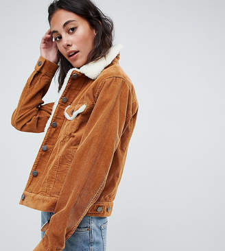 Asos Tall DESIGN Tall cord jacket with fleece collar in rust