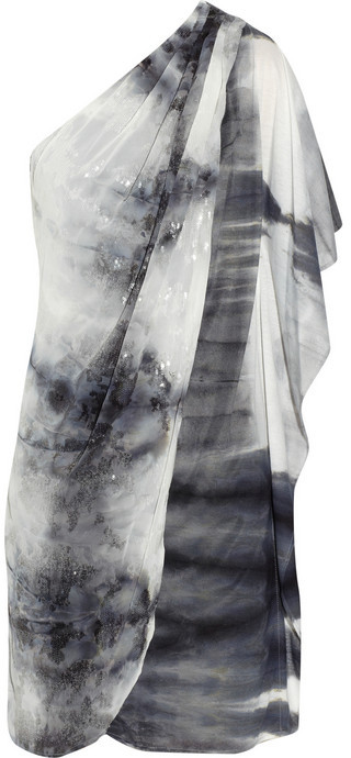 Badgley Mischka One-shoulder draped sequin jersey dress