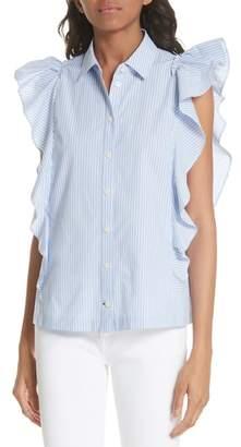Kate Spade flutter sleeve stripe cotton blouse