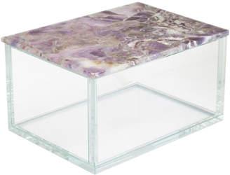 Jay Import Co Gemstone Glass Box, Purple