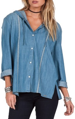 Volcom Among Us Chambray Button Front Hoodie $69.50 thestylecure.com