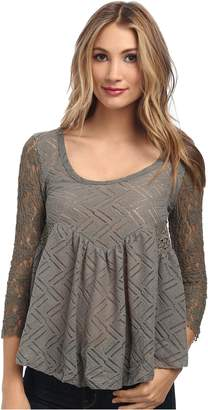 Free People Women's Long Sleeve Pullover Gracie Lace Tee