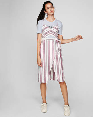 Express Petite Striped Cut-Out Wrap Front Midi Dress