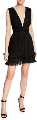 La Maison Talulah Mystical Plunge-Neck Sleeveless Pleated Mini Dress
