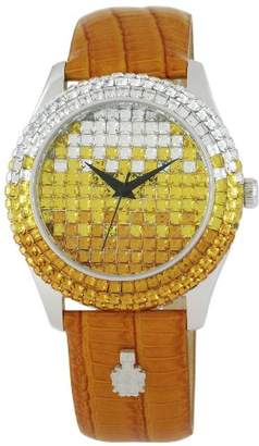 Burgmeister Rainbow Women's Quartz Watch with Yellow Dial Analogue Display and Brown Leather Strap BMY01-195