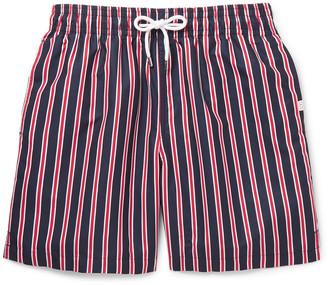 Derek Rose Bali Wide-Leg Mid-Length Striped Swim Shorts
