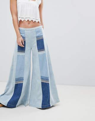 Free People Patchwork Denim Wide Leg Jeans