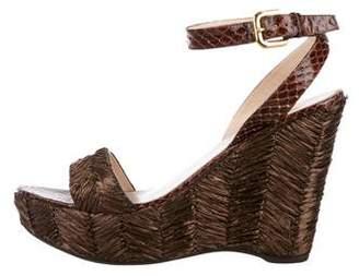 Prada Snakeskin-Trimmed Wedge Sandals