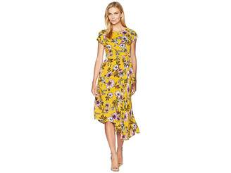 Donna Morgan Midi Length Floral Dress with Kimono Sleeve