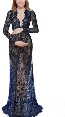 193530dfb7539 Saslax Women's Deep V-Neck Long Sleeve Lace See-Through Wedding Maxi Dress