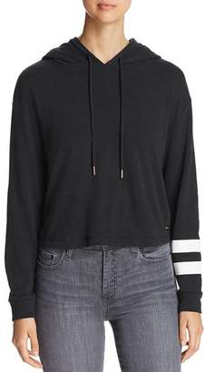 Andrew Marc Graphic-Stripe Cropped Hoodie