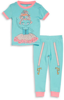 Petit Lem Little Girl's & Girl's Ballerina Pajama Tee and Pants Set $30 thestylecure.com