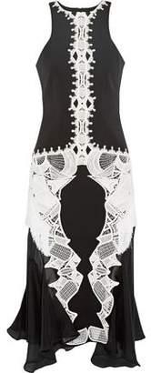 Jonathan Simkhai Chiffon-Paneled Guipure Lace-Appliquéd Crepe Midi Dress