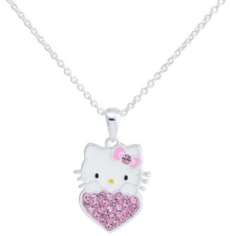"Hello Kitty® Silver- Plated Pendant with Rose Pink Crystal Accent - Multicolor (18"") $19.99 thestylecure.com"