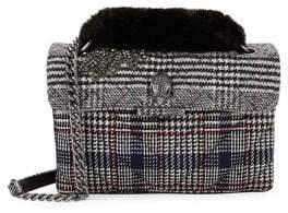 Kurt Geiger London Kensington Faux Fur Plaid Shoulder Bag