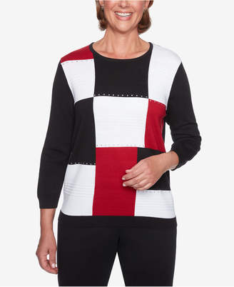 Alfred Dunner Petite Classics Colorblocked Sweater