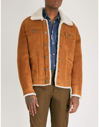 DSQUARED2 Textured shearling-trimmed leather jacket
