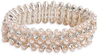 Cezanne Silvertone, Faux Pearl Crystal Bracelet