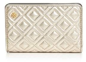 Tory Burch Fleming Medium Slim Metallic Leather Wallet