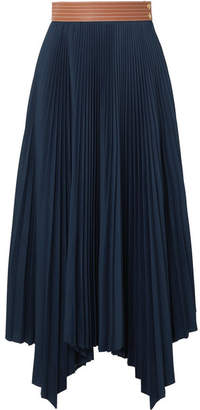 Loewe Asymmetric Leather-trimmed Pleated Poplin Midi Skirt - Navy