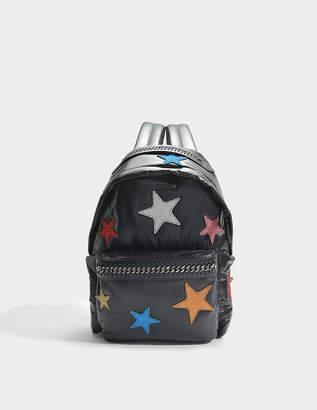 Stella McCartney Nylon and Glitter Stars Falabella Go Backpack in Black Eco Fabric