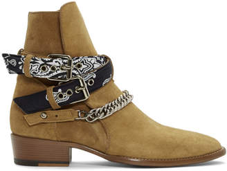 Amiri Brown Suede Bandana Buckle Boots