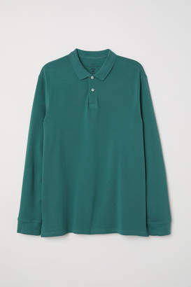 H&M Long-sleeved Polo Shirt - Green