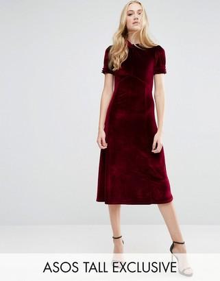 ASOS Tall ASOS TALL Tea Dress in Velvet $53 thestylecure.com