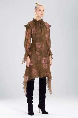Josie Natori Primrose Silk Chiffon Ruffle Neck Dress