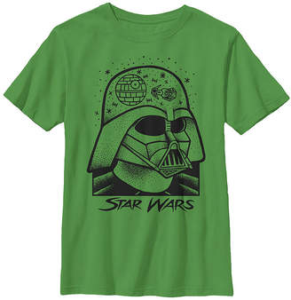 Fifth Sun Darth Vader Helmet Galaxy Sketch Boys Crew Neck Short Sleeve Star Wars T-Shirt Preschool / Big Kid Slim